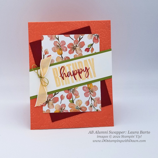 Stampin' Up! Designer Series Paper Sale You're a Peach swap cards shared by Dawn Olchefske #dostamping #YoureaPeach-Laura-Barto