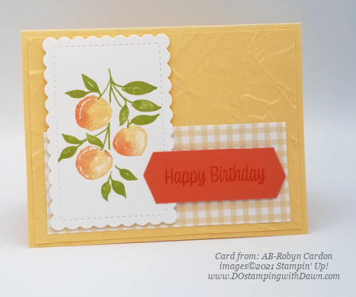 Stampin' Up! Designer Series Paper Sale Pansy Petals Sweet as a Peach card shared by Dawn Olchefske #dostamping #youreapeach (AB-Robyn Cardon)