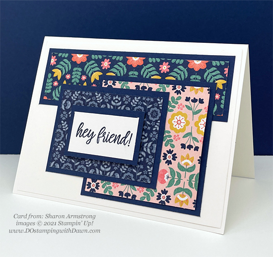 Stampin' Up! Designer Series Paper Sale Sweet Symmetry card shared by Dawn Olchefske #dostamping (Sharon Armstrong)