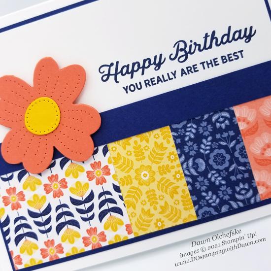 Stampin' Up! Sweet Symmetry Designer Series Paper and In Bloom stamp set card by Dawn Olchefske #dostamping #HowdSheDOthat-CU