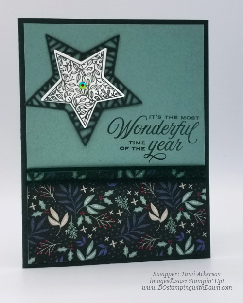 Stampin' Up! Designer Series Paper Sale Tidings of Christmas swap cards shared by Dawn Olchefske #dostamping #tidingsofChristmas (Tamie Ackerson)