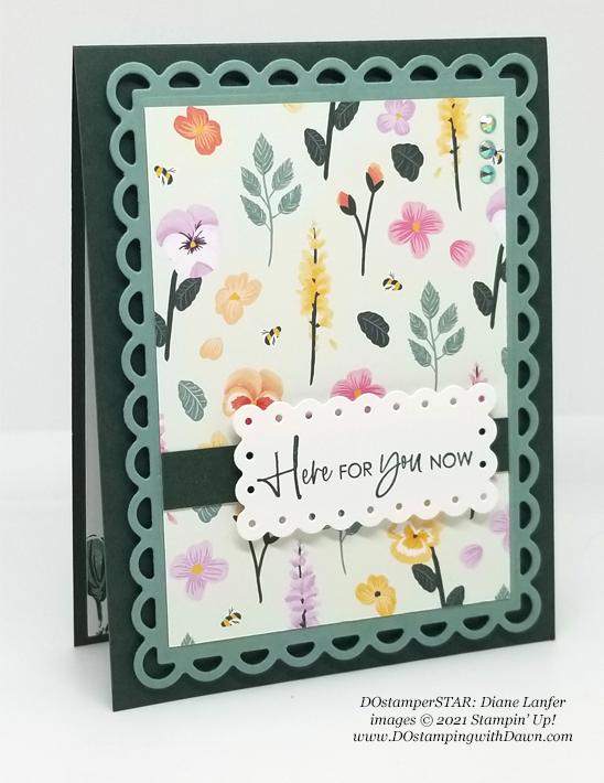 Stampin' Up! Pansy Petals Designer Series Paper card shared by Dawn Olchefske #dostamping #olympics (DOstamperSTAR Diane Lanfer)