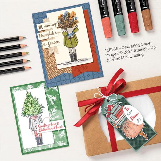 Stampin' Up! samples of Delivering Cheer stamp set (156368) shared by Dawn Olchefske #dostamping #howdSheDOthat #christmascards