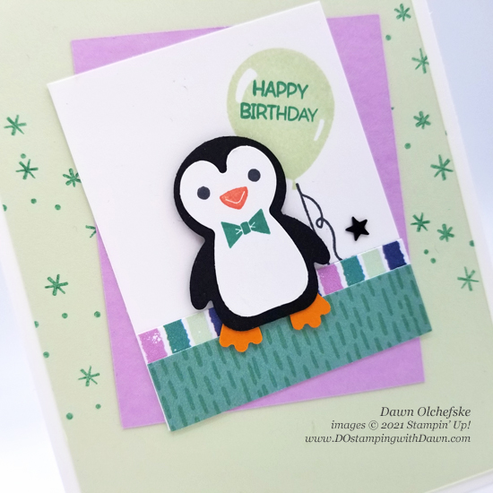 Stampin' Up! Penguin Place Bundle and FREE Penguin Playmates Designer Series Paper card by Dawn Olchefske #dostamping #HowdSheDOthat #saleabration.cu