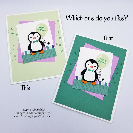 Penguin Place Bundle and FREE Penguin Playmates Designer Series Paper cards by Dawn Olchefske -.Which do you like better #dostamping #HowdSheDOthat #saleabration-550