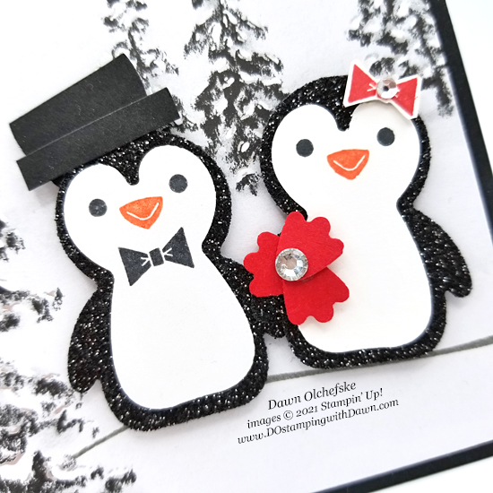 Penguin Place Bundle Snowman Sweethearts card with Peaceful Place Designer Series Specialty Paper by Dawn Olchefske - #dostamping #HowdSheDOthat #stampinup #penguinpunch #stampinup #punchart. c