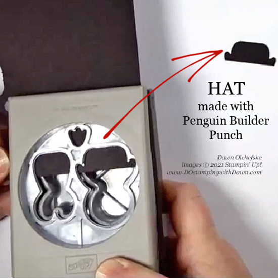 Make a hat with the Penguin Builder Punch from Dawn Olchefske for DOstamping@Home Club #dostamping #HowdSheDOthat #stampinup #punchart