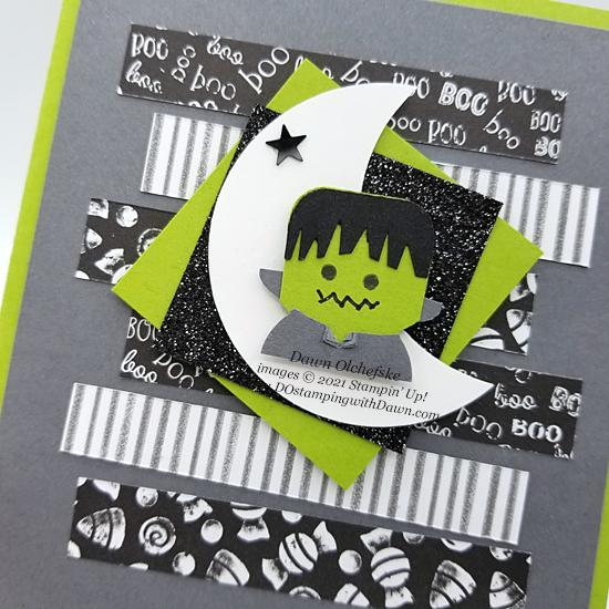 Penguin Place Bundle Frankenstein punch art card with Cute Halloween Designer Series Paper by Dawn Olchefske #dostamping #HowdSheDOthat #stampinup #penguinpunch #punchart cu