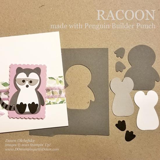Animal Punch Art Racoon using Penguin Builder Punch card from Dawn Olchefske #dostamping #HowdSheDOthat #stampinup #punchart P