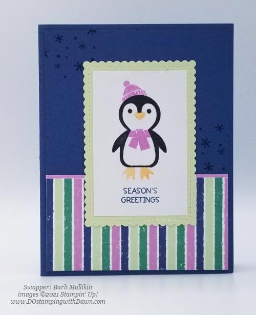 FREE Sale-a-Bration Penguin Playmates Designer Series Paper swap cards shared by Dawn Olchefske #dostamping #stampinup (Barb Mullikin)