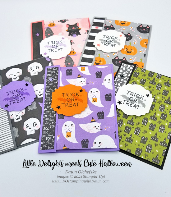 Stampin' Up! Little Delights & Cute Halloween cards by Dawn Olchefske #dostamping #HowdSheDOthat #stampinup #cardmaking #quickandcute g