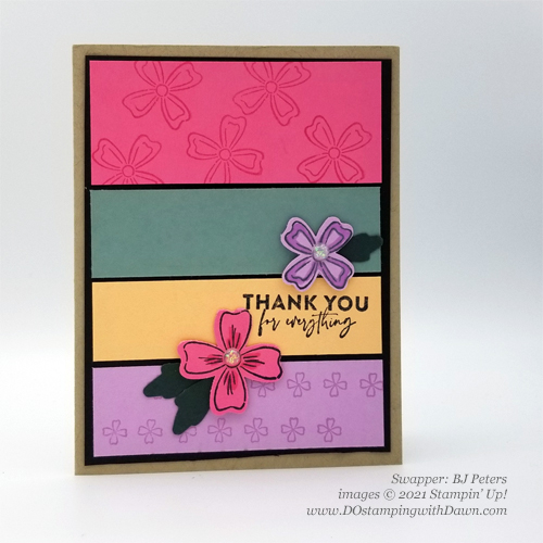 Stampin' Up! New In Color swap cards shared by Dawn Olchefske #dostamping #flowersofFriendship (BJ Peters)