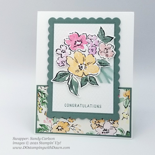 Stampin' Up! New In Color swap cards shared by Dawn Olchefske #dostamping #Hand-Penned Petals (Sandy Carlson)