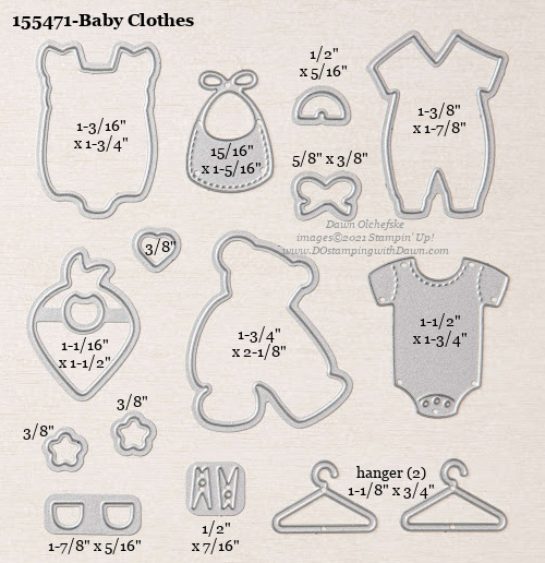 Stampin' Up! Baby Clothes Dies sizes shared by Dawn Olchefske #dostamping #stampinup #papercrafting #diecutting #stampindies