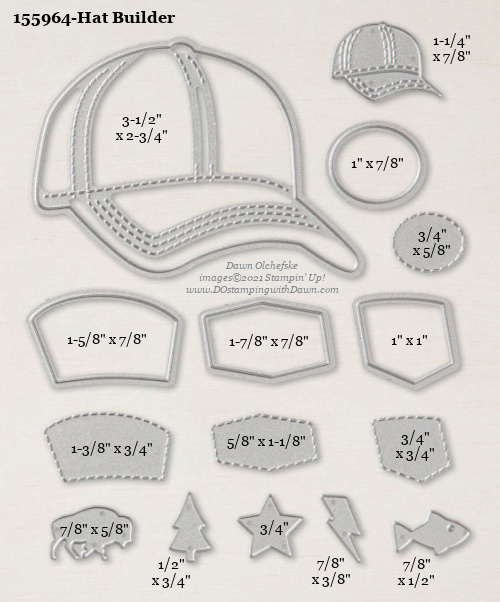 Stampin' Up! Hat Builder Die size shared by Dawn Olchefske #dostamping #stampinup #papercrafting #diecutting #stampindies