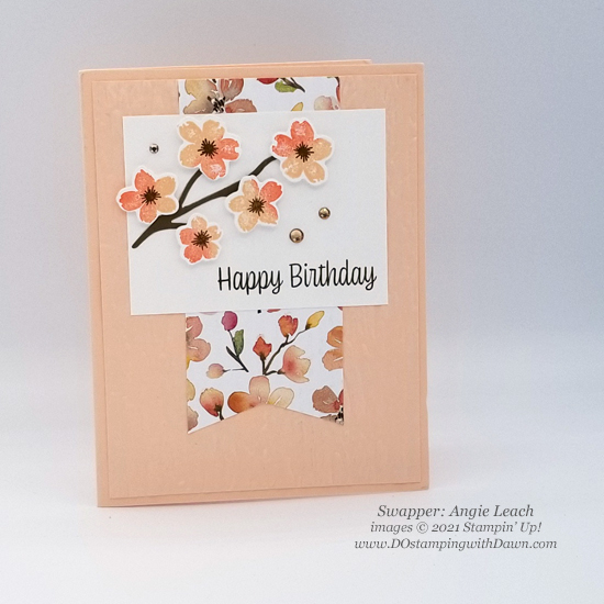Stampin' Up! Designer Series Paper Sale You're a Peach swap cards shared by Dawn Olchefske #dostamping #YoureaPeach-Angie Leach