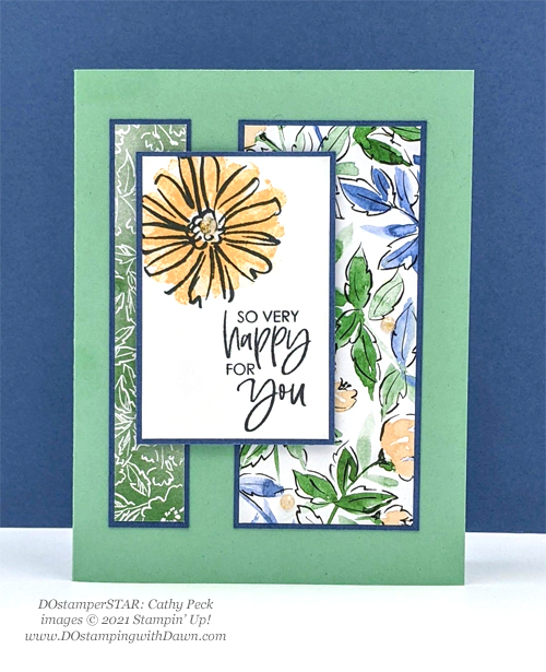 Stampin' Up! Designer Series Paper Hand-Penned Color & Contour card shared by Dawn Olchefske #dostamping Cathy Peck)