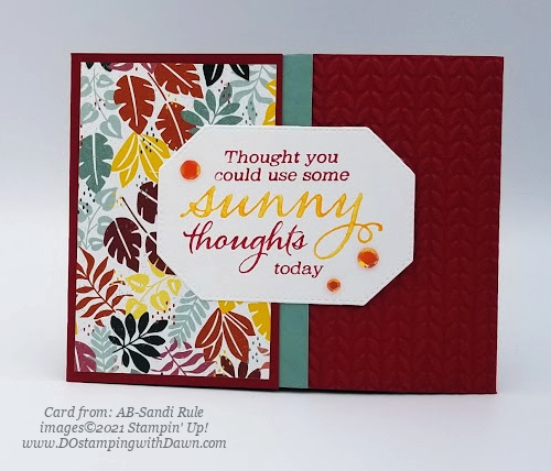 Stampin' Up! Designer Series Paper Sale In the Wild Sunny Sentiments card shared by Dawn Olchefske #dostamping (AB-Sandi Rule)