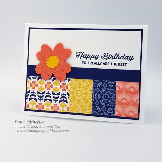 Stampin' Up! Sweet Symmetry Designer Series Paper and In Bloom stamp set card by Dawn Olchefske #dostamping #HowdSheDOthat