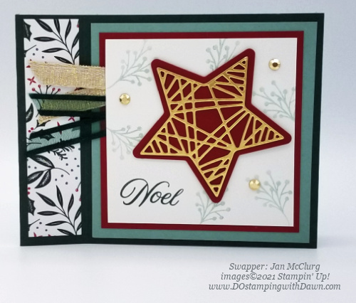 Stampin' Up! Designer Series Paper Sale Tidings of Christmas swap cards shared by Dawn Olchefske #dostamping #tidingsofChristmas (Jan McClurg)