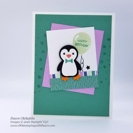 Stampin' Up! Penguin Place Bundle and FREE Penguin Playmates Designer Series Paper card by Dawn Olchefske #dostamping #HowdSheDOthat #saleabration-3