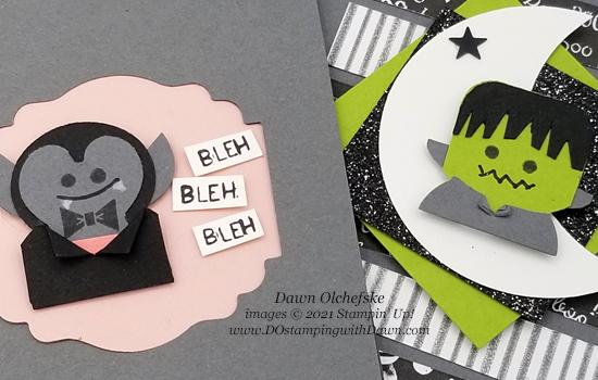 Penguin Place Bundle Count Dracula and Frankenstein punch art  by Dawn Olchefske #dostamping #HowdSheDOthat #stampinup #penguinpunch #punchart cu
