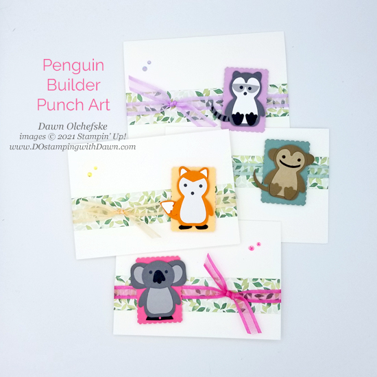Animal Punch Art using Penguin Builder Punch card from Dawn Olchefske #dostamping #HowdSheDOthat #stampinup #punchart.jpg