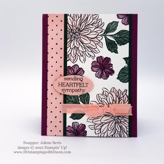 Sale-A-Bration Delicate Dahlias free stamp set card shared by Dawn Olchefske #dostamping #stampinup #DOstamperSTARS (Jolene Bergs)