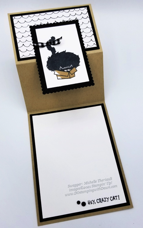 Stampin' Up! Clever Cats cards shared by Dawn Olchefske #dostamping #halloween (Michelle Theriault) open