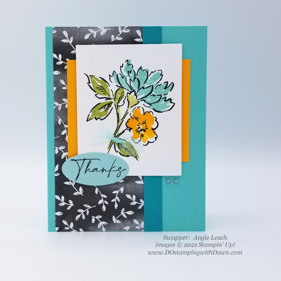 FREE Sale-a-Bration Beautifully Penned Designer Series Paper swap cards shared by Dawn Olchefske #dostamping #stampinup (Angie Leach)