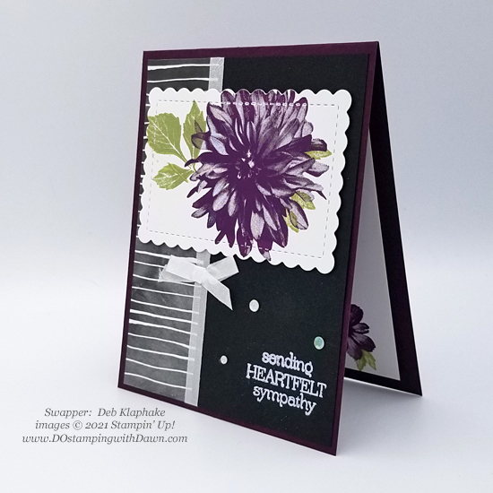 FREE Sale-a-Bration Beautifully Penned Designer Series Paper swap cards shared by Dawn Olchefske #dostamping #stampinup (Deb Klaphake)