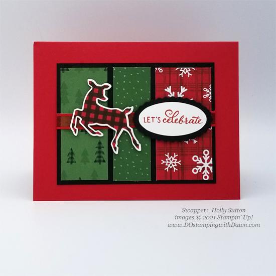 FREE Sale-a-Bration Peaceful Prints Designer Series Paper & Peaceful Deer Bundle swap cards shared by Dawn Olchefske #dostamping #stampinup (Holly Sutton)