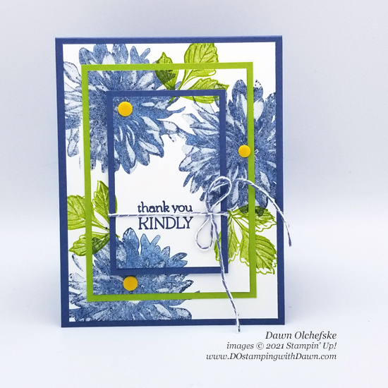 Triple Time Stamping using FREE Sale-a-Bration Delicate Dahlias stamp set card by Dawn Olchefske #dostamping #HowdSheDOthat #stampinup #stampingtechniques
