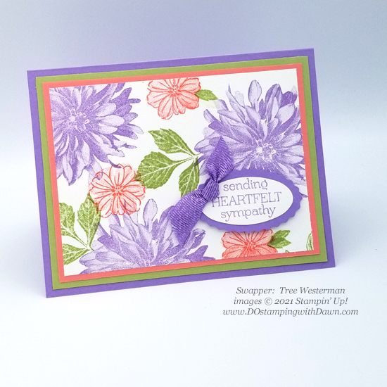 FREE Sale-a-Bration Delicate Dahlias swap cards shared by Dawn Olchefske #dostamping #stampinup (Tree Westerman)