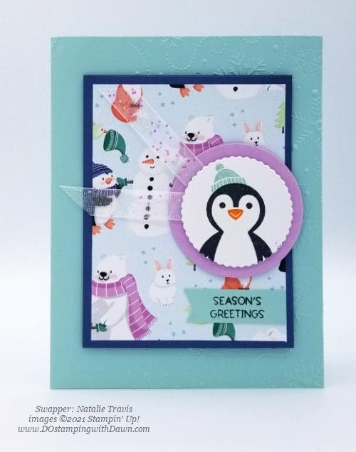 FREE Sale-a-Bration Penguin Playmates Designer Series Paper swap cards shared by Dawn Olchefske #dostamping #stampinup (Natalie Travis) (1)