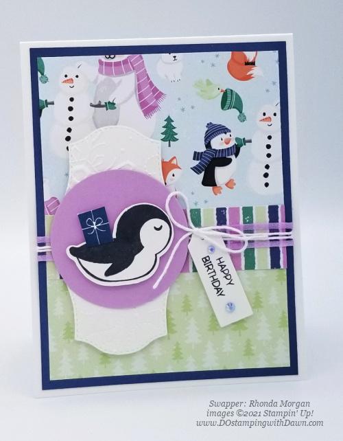 FREE Sale-a-Bration Penguin Playmates Designer Series Paper swap cards shared by Dawn Olchefske #dostamping #stampinup (Rhonda Morgan) (1)