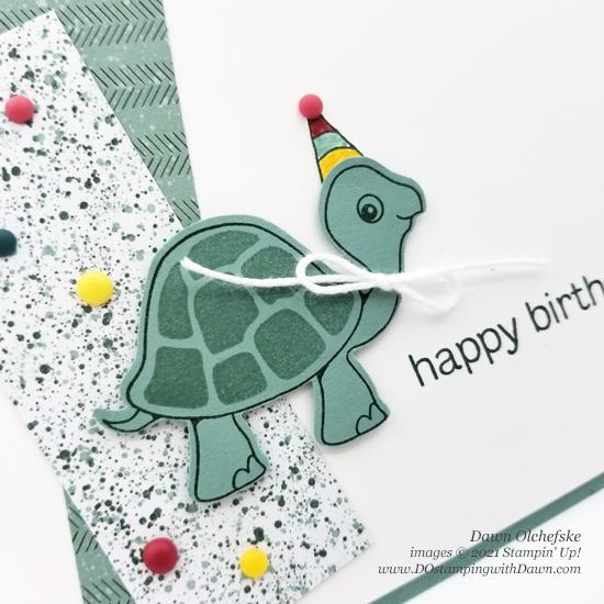Stampin' Up! Turtle Friends Bundle card by Dawn Olchefske with sneak peek at Ever Eden Designer Series Paper #dostamping #HowdSheDOthat #stampinup #cardmaking #birthday cu